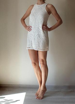 Молочное летнее платье pull&bear