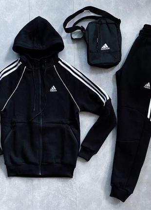 Спортивный костюм ЗИМНИЙ мужской Adidas трикотажный теплый на ...