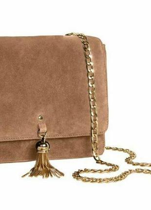 Кожаная сумочка кроссбоди, сумка натуральная замша esmara герм...