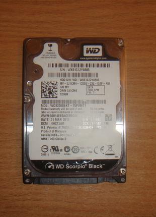 WD Black 320GB. 7200rpm. Sata lll (WD3200BEKT) Для ноутбука .