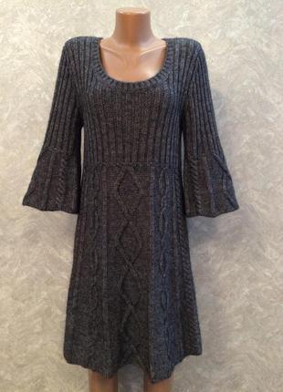 Платье тёплое крупной вязки небольшая трапеция и широкий рукав...