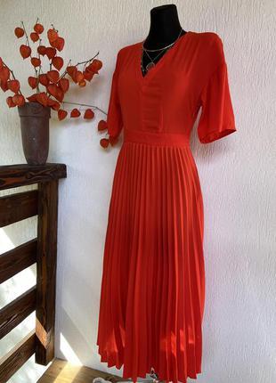 Фирменное стильное качественное красное платье 🥻 плиссе