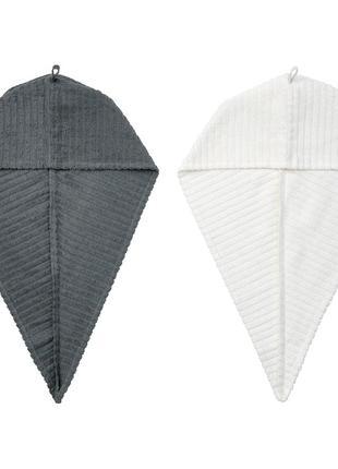 Полотенце-тюрбан для сушки волос IKEA 2 шт 100% хлопок чалма