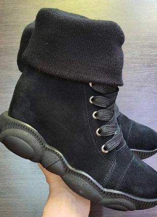 35-41 натуральные замшевые ботинки сникерсы