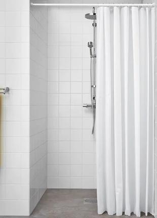 Шторка для ванной и душа с кольцами IKEA 180x200 см белая