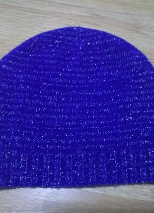 Синяя с люрексовой нитью шапка