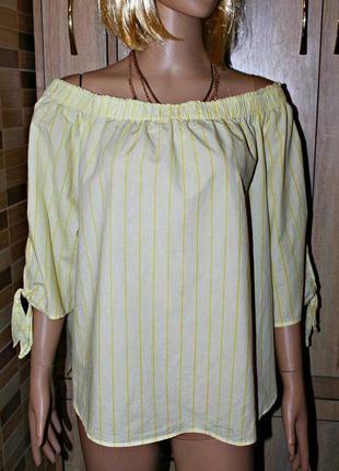 Свободная хлопковая блузка,спущенные плечи. h&m