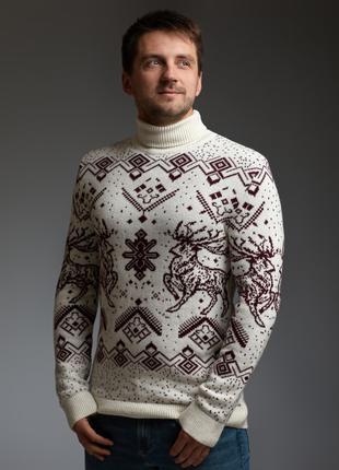 Мужской теплый белый свитер с оленями