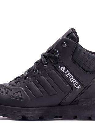 Мужские зимние кожаные ботинки на натуральном меху Adidas