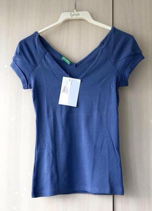 Синяя футболка united colors of benetton / xs / s / хлопок