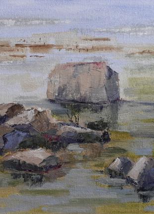 Картина маслом, масляная живопись, пейзаж, камни, река, озеро