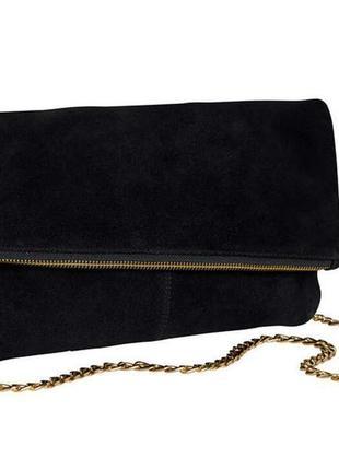 Кожаная сумка клатч сумочка натуральная замша esmara германия