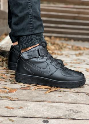 Кроссовки Nike Air Force High Black(мех)