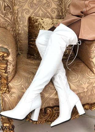 ❤ женские белые осенние демисезонные сапоги ботфорты ❤