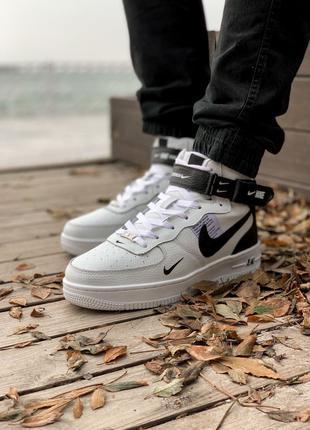 Кроссовки Nike Air Force High White Black(мех)