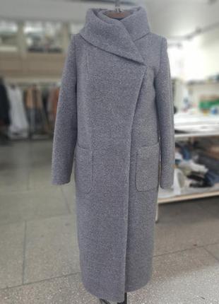 Шикарное женское демисезонное длинное серое пальто с капюшоном