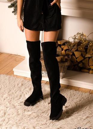 ❤ женские черные замшевые осенние демисезонные сапоги ботфорты ❤