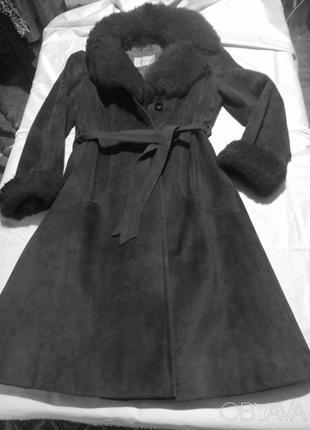 Пальто замшевое, утепленное