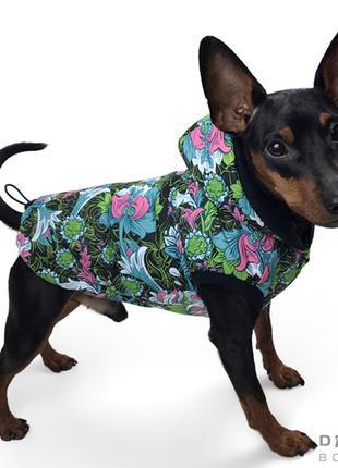 Одежда для собак Жилет цветы зелёные на черном фоне