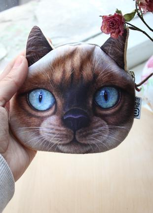 Маленький женский кошелек с мордочкой кота, детский кошелек
