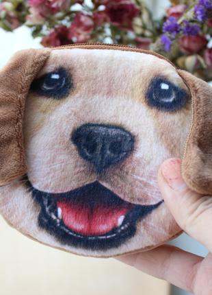 Маленький кошелек с мордочкой собаки, детский кошелек, монетница