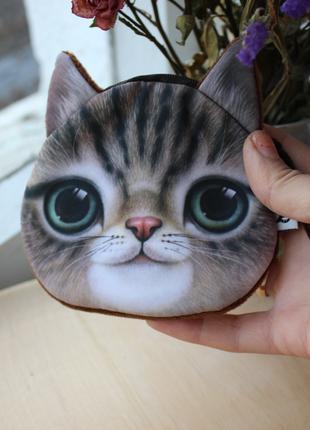 Маленький кошелек с мордочкой кота, детский кошелек, монетница
