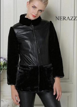 Меховая куртка с вставками из искусственной кожи и шарф