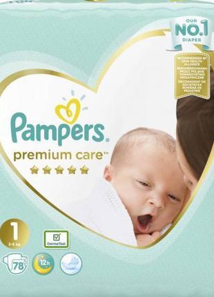 Подгузник Pampers Premium Care New Born Размер 1 (2-5 кг) 78 шт