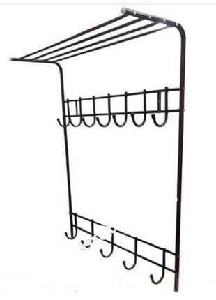 Вешалка для одежды настенная с полочкой прочная