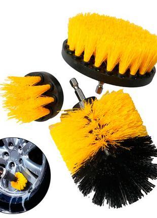 Набор из 3 щеток-насадок на шуруповерт дрель для чистки авто