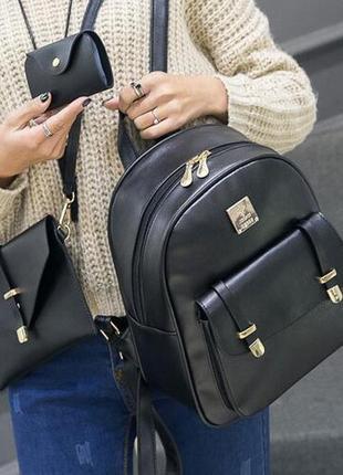 Женский набор 3 в 1 рюкзак, сумка и визитница из эко-кожи hone...