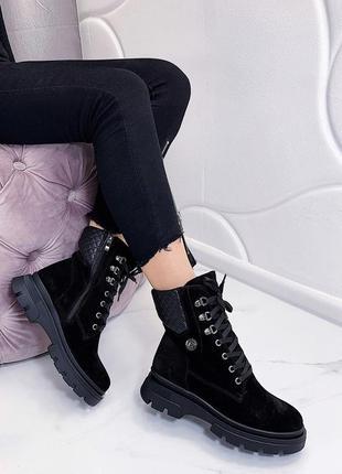 Новые женские кожаные осенние черные ботинки