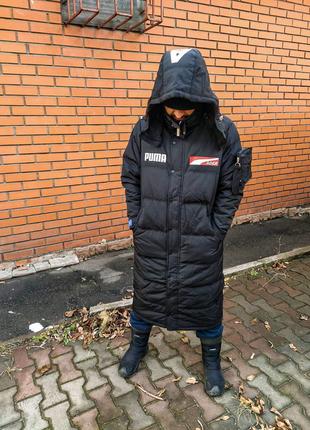 Пуховик пальто мужской длинный чёрный зима