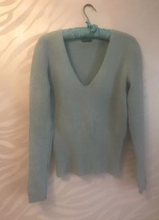 Пуловер джемпер из шерсти и ангоры нежно- мятного цвета рL- 48