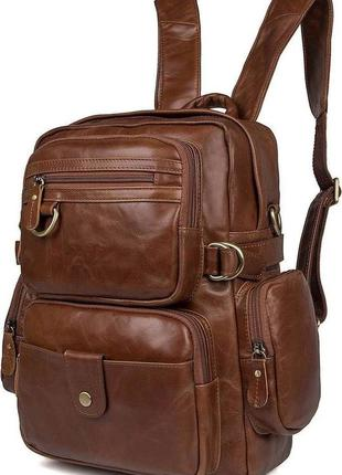 Сумка-рюкзак кожаная коричневая,светло-коричневая рюкзак-транс...