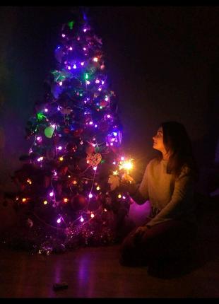 Новогодняя разноцветная и однотонные 100 LED-гирлянда Матовые 10м