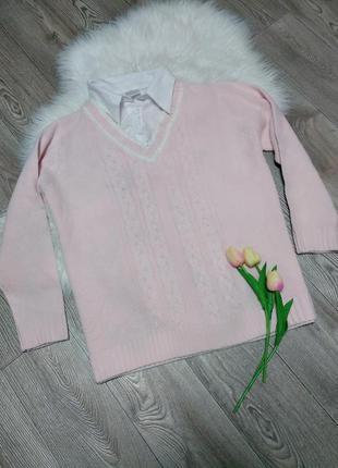 Женская кофта свитер джемпер с воротником обманка с рубашкой