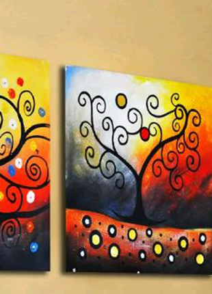 Картина по номерам Триптих Дерево счастья
