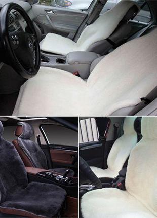 Качественная накидка на сиденье автомобиля из натурального мех...