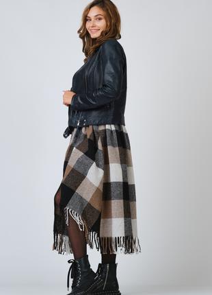 Женская шерстяная юбка в крупную клетку с сумкой 46- 52 раз