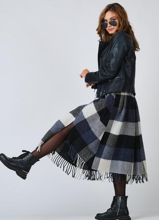 Женская шерстяная юбка в клетку с сумкой в комплекте. 46-52 раз
