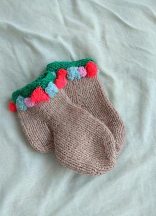 В'язані носки носочки чопи 13 см.