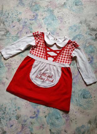 Платье в стиле красной шапочки бренд george на 1-1,5 года