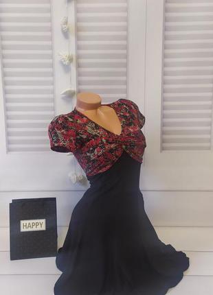 Платье коктейльное вечернее красивое  чёрное, s