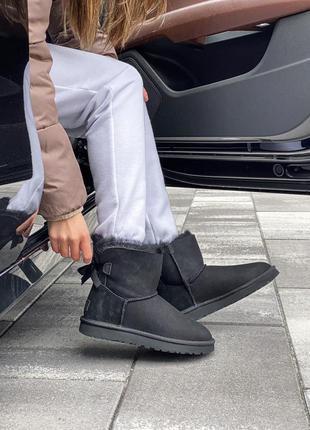 Ugg mini bailey bow ii черные женские ботинки угги 🆕 угги на о...