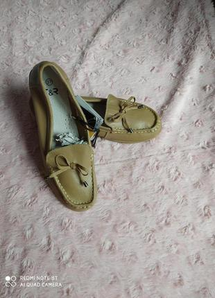 Новые кожаные мокасины туфли балетки женские Tom&Rose р.37