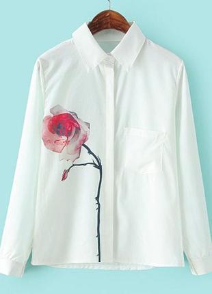 Белая рубашка с принтом роза 🥀