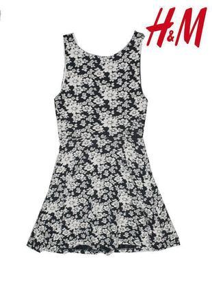 Фактурное платье в цветочный принт h&m xs