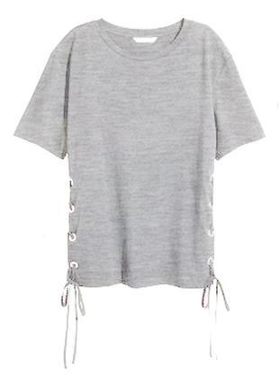 Серая меланжевая футболка h&m со шнуровкой по бокам s
