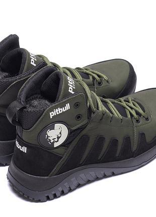 Мужские зимние кожаные ботинки на натуральном меху Pitbull